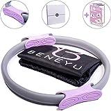 beneyu Multifunktionaler Pilates Ring | Leichter & Gepolsterter Yoga Ring mit Rutschfesten & Ergonomischen Gummigriffen für Gelenkschonendes Krafttraining (36cm) +PDF