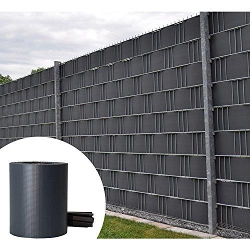 PVC Sichtschutzstreifen Zaunfolie 35m Rolle inklusive 30 Befestigungsclips - anthrazit