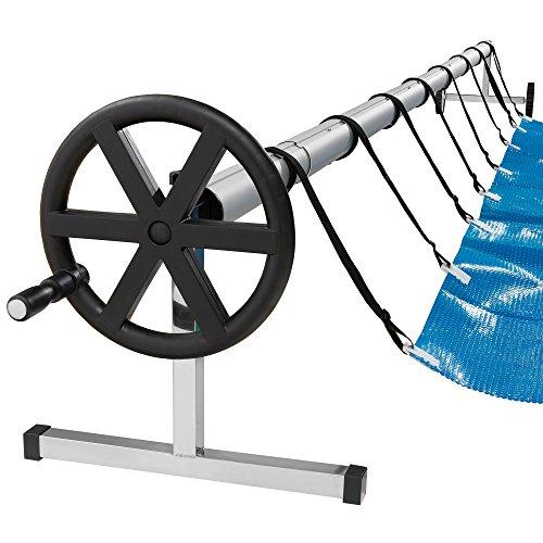Arebos mobiles Aufrollsystem für Solar- und Poolplanen / Länge von 3 - 5,70 m / witterungsbeständiges Material