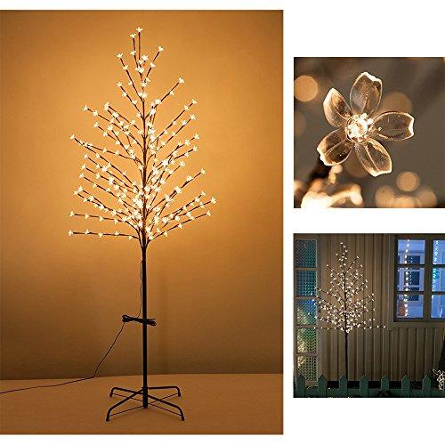 VINGO LED Kirschblütenbaum Blumen Blütenbaum Lichterbaum Warmweiß Sakura Baum Metall Leuchtend Weihnachten Halloween für Innen und Außen Beleuchtung Deko (Höhe ca.180 cm)