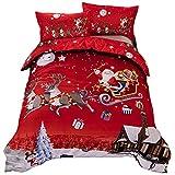 Bettwäsche-Set mit Merry-Christmas-Design, 1 Deckenbezug, 2 Kissenbezüge, sehr weicher Stoff, Geschenk für Weihnachten, 3er-Set, Polyester, Double(200x200 cm)