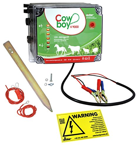 Weidezaungerät Cowboy V9000 - 12 V - Extra Power : 10000 Volt - Unser stärkstes Batteriegerät mit bester Hütesicherheit inkl. Zubehörset
