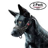 FRETOD Nylon Hunde Maulkorb - 2er Pack, um Hunde vor,Beißen und Kauen abzuhalten - L & XL (Schwarz)