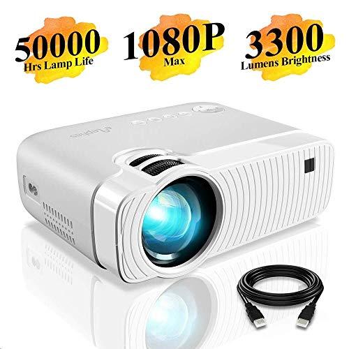 "Mini Beamer, ELEPHAS 3300 Lumen Tragbarer LED Projektor, unterstützt 1080P, Max 180 ""Display, 50000 Stunden Lampenlebensdauer, kompatibel mit USB / HD / SD / AV / VGA"