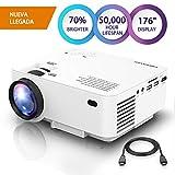 DBPOWER Mini Beamer, 2200 Lumen HD 1080P LED Video Projektor mit 176' Display, 50.000 Lebensdauer, Heimkino Projektor kompatibel mit Amazon Fire TV Stick, HDMI/VGA/AV/USB/TF, Weiß