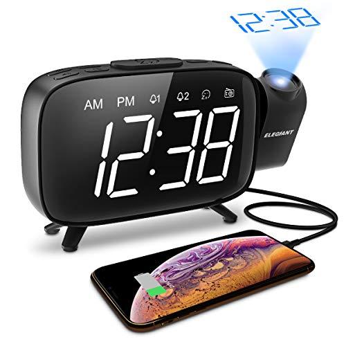 Projektionswecker, ELEGIANT FM Radiowecker Digitaler Wecker, 3 stufige Helligkeit mit Dimmer, Dual-Alarm und 12 Snooze, 7 Alarmtöne mit 6 Lautstärke, 180°Dreh-Projektor, Flip-Anzeige, USB-Anschluss