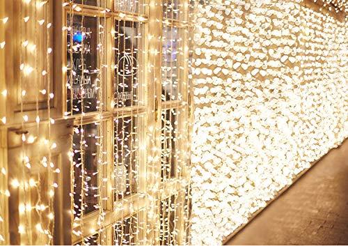 600 LEDs Lichterkette 6m * 3m IDESION 8 Betriebsarten LED Lichtervorhang für Innenausstattung Außenbereich Schlafzimmer Hochzeit Weihnachten Party