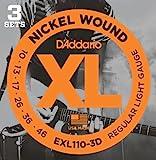 D'Addario EXL110-3D vernickelte Stahlsaiten für E-Gitarre .010 - .046 Regular Light (3er Pack) Sparpack