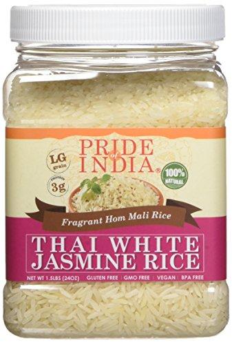 Pride Of India Thai weiße Jasminreis duftend hom mali Reis, 1,5 Pfund Glas