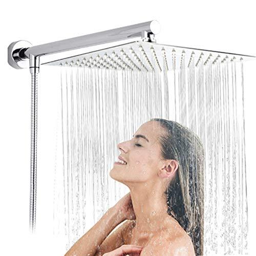 Kopfbrause Regendusche, 8 Zoll duschkopf regendusche Einbauduschköpfe Edelstahl duschbrause poliert Spiegeleffekt Kopfbrause Regenbrause mit Anti-Kalk-Düsen 20 X 20 cm Wasserfall Regenduschkopf