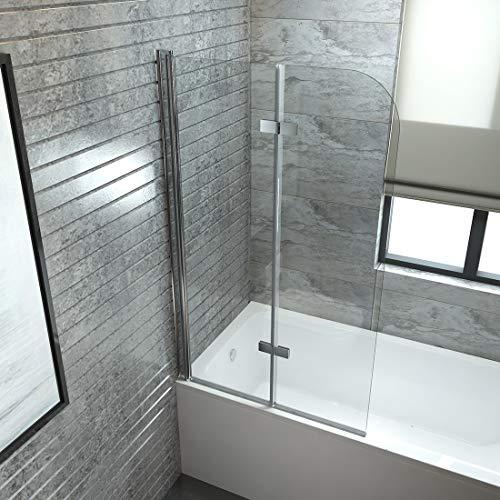 EMKE Duschabtrennung 100x140cm Faltwand für Badewanne, Duschwand Badewannenaufsatz mit 6mm Nano Easy Clean Glas