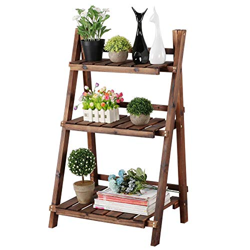 Yaheetech Blumenleiter Pflanzentreppe Blumenregal Holz Regal Blumentreppe Gartenregal Leiterregal Pflanzenregal 60 x 38 x 93 cm