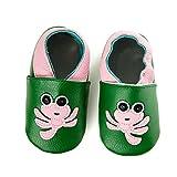 smileBaby Premium Leder Lauflernschuhe Krabbelschuhe Babyschuhe Grün Krake 12 bis 18 Monate