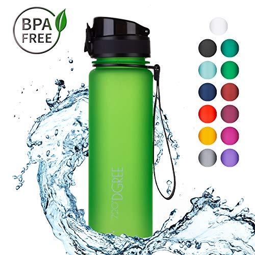 720°DGREE Trinkflasche 'uberBottle' - 500 ml, 0,5 l, Grün, Gruen | Neuartige Tritan Wasser-Flasche | Water Bottle BPA Frei | Ideale Sportflasche für Kinder, Fitness, Fahrrad, Sport, Fussball