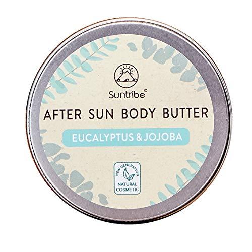 Suntribe 100% Bio Aftersun Körperbutter EUKALYPTUS & JOJOBA - 5 Inhaltsstoffe - Kühlend & Feuchtigkeitsspendend - Empfindliche Haut - Trockene Haut - Normale Haut (150 ml)