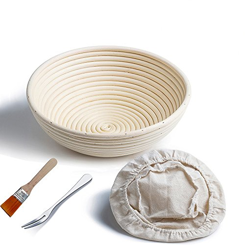 Gärkörbchen rund, ø 25 cm, Höhe 8.5 cm Banneton Proof Korb für Brot und Teig [inkl. Pinsel] Proof Rising Rattan Schale + Gratis Liner + Gratis Brot Gabel