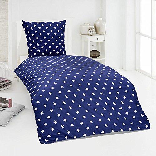 Dreamhome24 Hochwertige Microfaser Bettwäsche Bettbezug Sterne Stars pink blau 135x200 80x80, Design - Motiv:Design 1