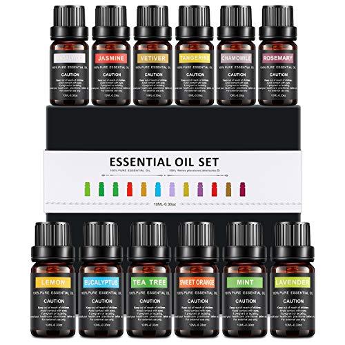 WOSTOO Ätherische Öle, 12 Bottle Naturreines 100% Pure Duftöle hochwertigster Qualität(Lavendel, Teebaum, Minze, Süßorange, Zitrone ect) für Massage, Aromatherapie, Entspannung Schlaf