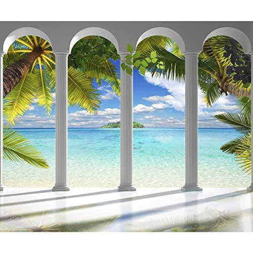 decomonkey Fototapete Meer Insel 350x256 cm XL Tapete Fototapeten Vlies Tapeten Vliestapete Wandtapete moderne Wandbild Wand Schlafzimmer Wohnzimmer Architektur Palmen Himmel FOC0029a73XL