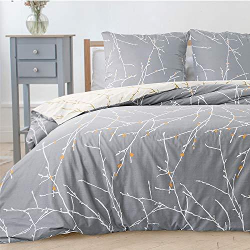 Bedsure Bettwäsche Set Grau & Beige 135x200cm Bettbezug mit Zweige Muster, Super Weiche Atmungsaktive Mikrofaser Bettwäsche, 2-teilig mit Reißverschluss 1 Kissenbezug 80x80cm