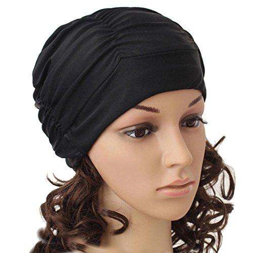 Fletion Unisex Damen Herren BadekappeBademütze,Badehaube Plissee Schwimmkappe für Lange Haare Heiße  Quellen,Schwarz,