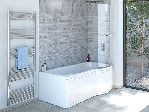 Badewanne SKALI Rechts + Duschkabine + Wannenschürze + Ablaufgarnitur + Wannenfüße