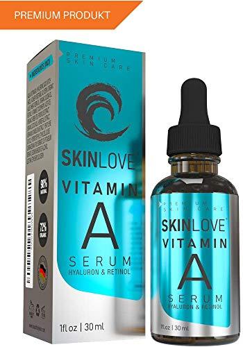 SKINLOVE Retinol Gesichtsserum mit Hyaluronsäure und Vitamin E, Anti-Aging-Retinol-Serum für Falten, feine Linien und empfindliche Haut - Made in Germany