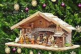 Große Weihnachtskrippe, mit Brunnen + Dekor, ca. 60 cm Massivholz historisch braun - mit 12 x PREMIUM-Krippenfiguren + goldener Engel ÖLBAUM