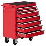 Yaheetech Werkzeugwagen Werkstattwagen 7 Fächer auf 4 Rollen kugelgelagert Werkzeug Rollwagen Rot