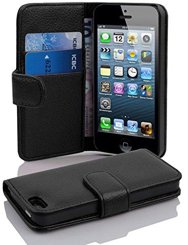 Apple iPhone 5 / iPhone 5S / iPhone SE Hülle in SCHWARZ von Cadorabo - Handyhülle mit Kartenfach Case Cover Schutzhülle Etui Tasche Book Klapp Style in OXID SCHWARZ
