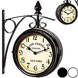 Zweiseitige Bahnhofsuhr - Wanduhr Uhr Retro Antik Stil Quarz schwarz