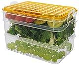 Hochwertige Kühlschrank-Behälter für Aufschnitt   Wurst und Käse aufbewahrung   Kunststoff (BPA-FREI)     Frischhaltedose   Geschirrspülmaschinenfest - 1 x 0,75 Liter + 2 x 1,6 Liter (Orange)