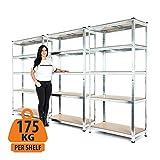 Hochbelastbares, verzinktes Stahlregal für die Garage, 3 Gestelle, Garagenregal, 5 Etagen, 175 kg Traglast pro Regalboden, 180 x 90 x 40 cm (H x B x T).
