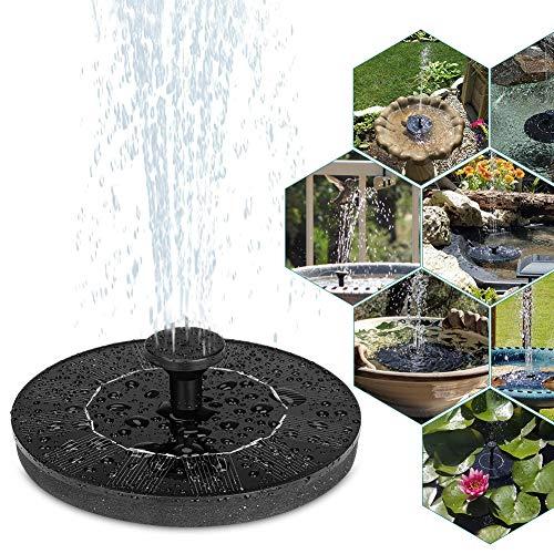 Solar Springbrunnen, Solar Teichpumpe Garten Wasserpumpe Solarpumpe mit 1.2W Monokristalline Solar Panel, Schwimmender Dekoration für Garten, Kleiner teich, Vogelbad, Fisch-Behälter, Pool