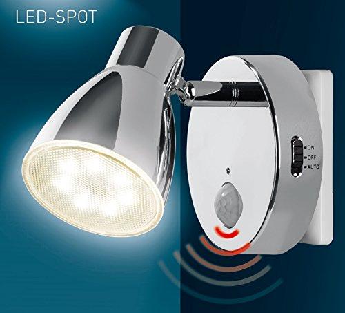 LED Nachtlicht mit Automatikfunktion direkt 230V mit Bewegungssensor Trango TG2635-018 (Chrom)