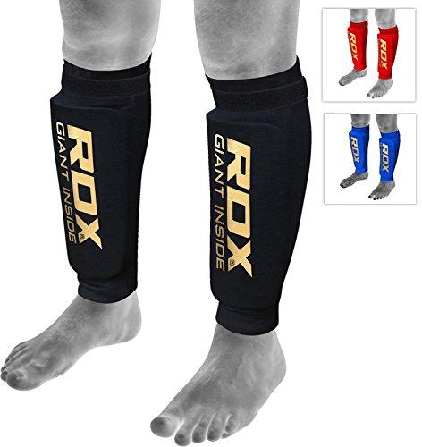 RDX MMA Boxen Schienbeinschutz Kampfsport Kickboxen Schienbein Schienbeinschoner Beinschützer(CE Bescheinigt Genehmigt Durch SATRA), Schwarz M