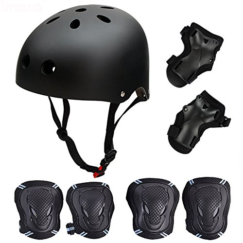 SymbolLife Skateboard / Skate Protektoren Set mit Helmet -- Skate Helmet Knie Pads Elbow Pads mit Handgelenkschoner für Skate, Skateboard, Roller Skate, BMX, Bike und anderen Extreme Sports, L Schwarz