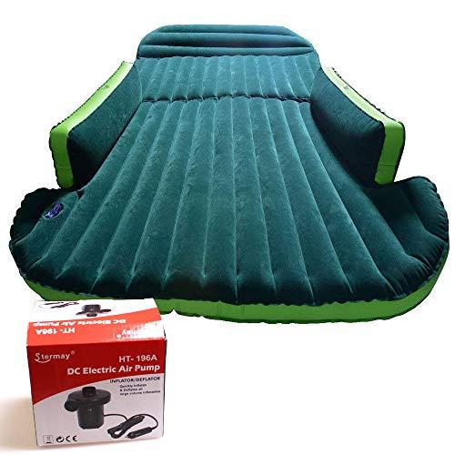 Luftmatratze mit Pumpe und speziellem Mobilkissen Luftmatratze für längere Reisen Aufblasbare dickere Rückbank (grün) - Schrägheck, Campingzelt