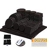 Filzgleiter selbstklebend mit 3M Kleber - 176-teiliges Möbelgleiter Set - Mit schwarzen Bodenschutz Pads in 8 verschiedenen Größen - Set mit Plastikbox und 30 Gumminoppen