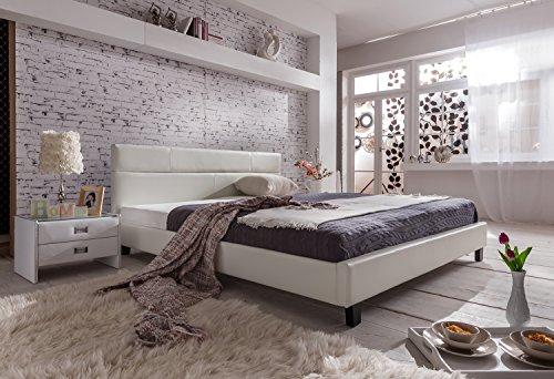 SAM Polsterbett 180x200 cm Pellisima, weiß, Kopfteil im abgesteppten Design, Bett mit schwarzen Füßen
