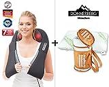 Donnerberg Schulter Massagegerät für Nacken Schulter Rücken   Das Original Shiatsu Nackenmassagegerät mit Wärme   3D-Rotation Massage   Set Massagegerät mit Bambuskissen