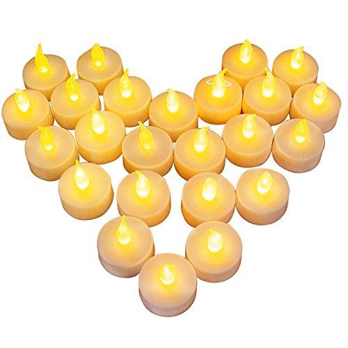 24 LED Kerzen, Diyife LED Flammenlose Tealights, Flackern Teelichter, elektrische Kerze Lichter Batterie Dekoration für Weihnachten, Weihnachtsbaum, Ostern, Hochzeit, Party [Batterien enthalten]