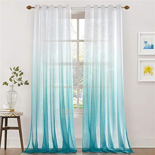 Lindong Farbverlauf Voile Vorhang Transparent Gardinen mit Ösen Dekoschal für Wohnzimmer Schlafzimmer 1er-Pack blau 140x225cm