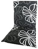 beo Gartenstuhlauflagen Saumauflage für Niederlehner, circa 98 x 48 x 6 cm, schwarz mit weißen Blüten