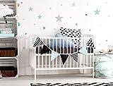 I-love-Wandtattoo WAS-10452 Kinderzimmer Wandsticker Set 'Pastell Sterne in zarten Grau und Grün Tönen' 25 Stück Sternenhimmel zum Kleben Wandtattoo Wandaufkleber Sticker Wanddeko