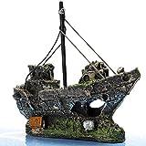 UEETEK Aquarium Ornamente Dekoration Wrack Schiff Fish Tank Zubehör Harz für Garnelen Cichild