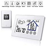 BALDR Wetterstation Funk mit Außensensor, Digital Thermometer Hygrometer mit licht, Uhrzeitanzeige und Touchscreen für Innen und außen