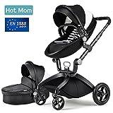 Hot Mom Limited Edition Kombikinderwagen mit Buggyaufsatz und Babywanne 3-in-1 Travelsystem Funktion new 2018,Schwarz