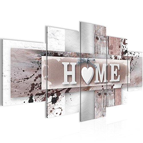 Bilder Home Herz Wandbild 200 x 100 cm Vlies - Leinwand Bild XXL Format Wandbilder Wohnzimmer Wohnung Deko Kunstdrucke Braun 5 Teilig -100% MADE IN GERMANY - Fertig zum Aufhängen 504551b