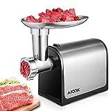 Aicok Elektrischer Fleischwolf, Profi Wurstmaschine Set, grob mit Lochscheibe-Aufsatz hochwertige Anti-Rutsch-Basis, mit Rückwärtsfunktion, Multifunktions Küchenmaschine Fleisch